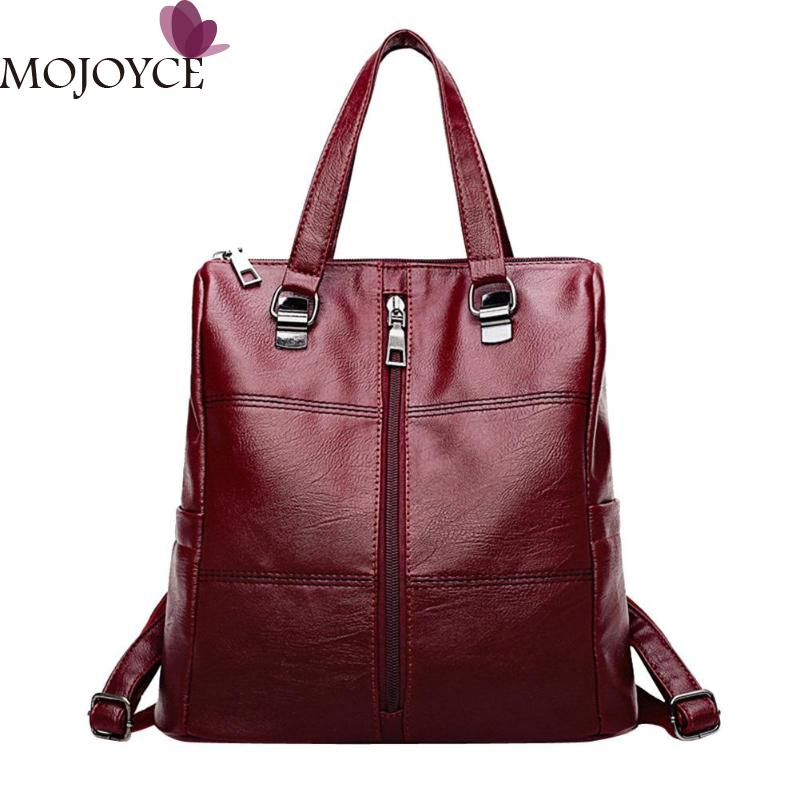 Soft PU Knapsack Vintage Backpack Women Rucksack Leather Package Multi-function Bag Ladies Shoulder Travel Girls School Bags