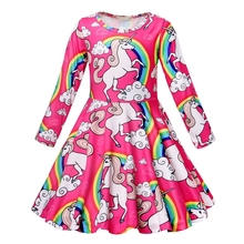 AmzBarley Rainbow Cartoon Unicorn Dress For Kid Girl Summer Swing Long Sleeve Birthday Party Fancy Casual Clothe 3-13Years