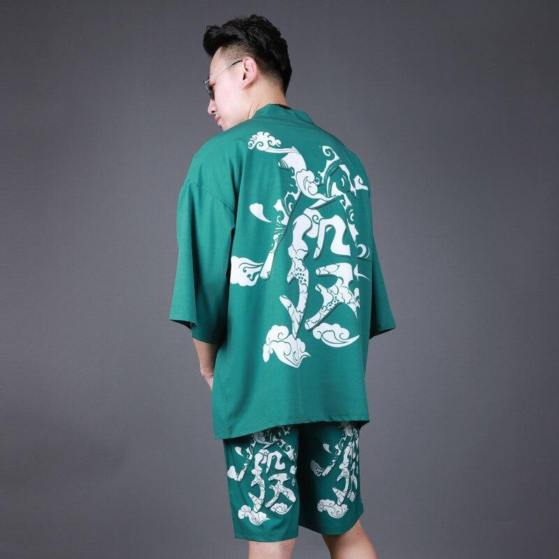 Summer Traditional Japanese Kimonos Male Japan Yukata Lounge Home Clothing Suits Men's Sleepwear Pajamas Chinese Cloak H9055
