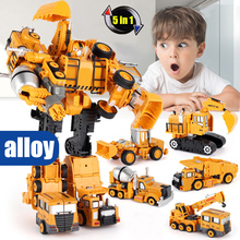 5 In 1 Super Transformation Robot Car Metal Alloy model Anime Deformation Robot Construction vehicle excavator Educational Toy weijiang model tf wei jiang transformation robot metal optimus alloy