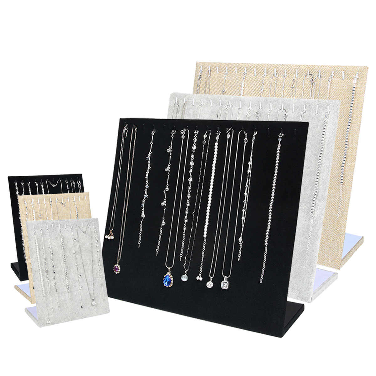 Black Velvet Necklace Bracelet Chain Jewelry Display Holder Stand Fabrics Women Jewelry Organizer Holder Storage Case 3 Colors