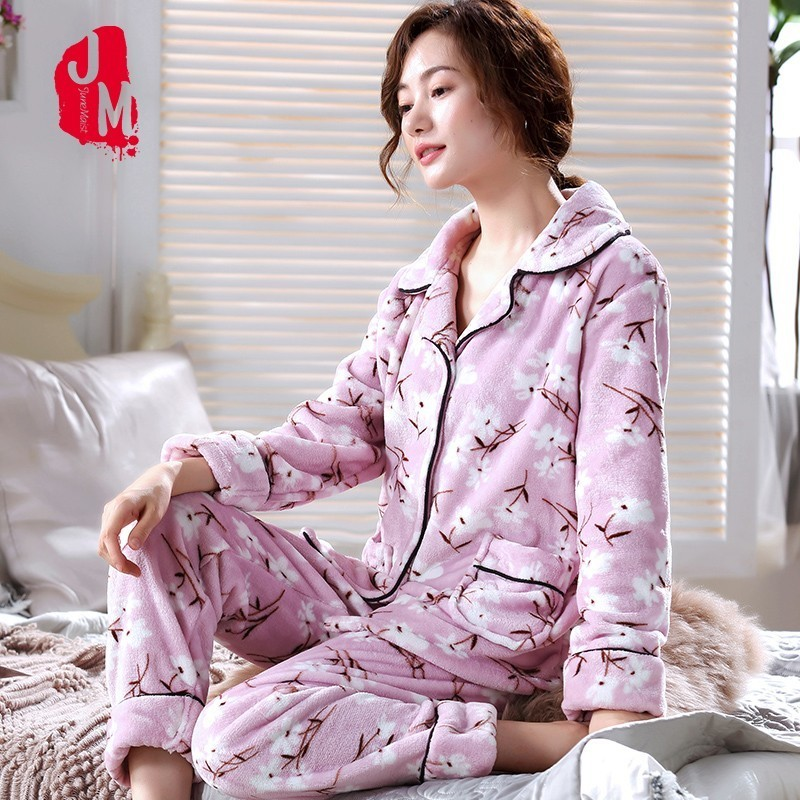 Warm Pyjamas Women Winter Flannel Women   Pajamas     Set   Floral Pyjama Femme Print Pijamas Woman Big Size Homewear Sleep S M L XL XXL