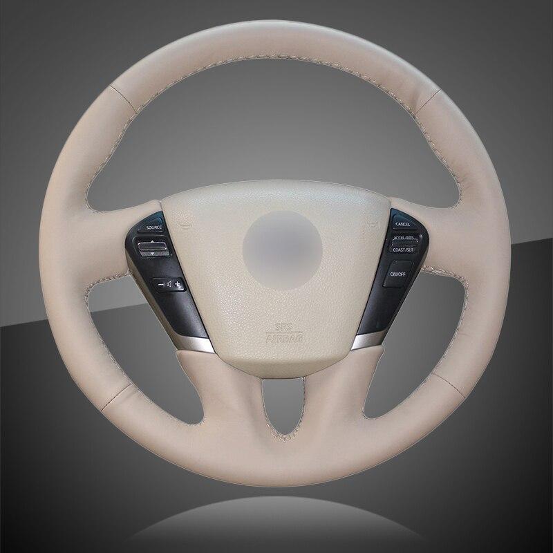 Main couture tresse automatique sur le couvre-volant pour Nissan Teana 2008-2012 Murano 2009-2014 couverture de volant de voiture intérieure