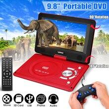 270 градусов экран 9,8 дюймов портативный автомобильный dvd-плеер игра видео управление с игры FM Радио ТВ AV монитор кардридер перезаряжаемый