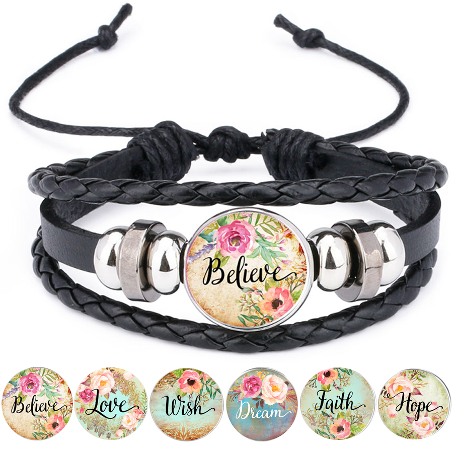 Bible Verse Leather Bracelet Faith Dream Love Hope Believe Art Glass Dome Charms Psalm Quote Jewelry Christian Gifts