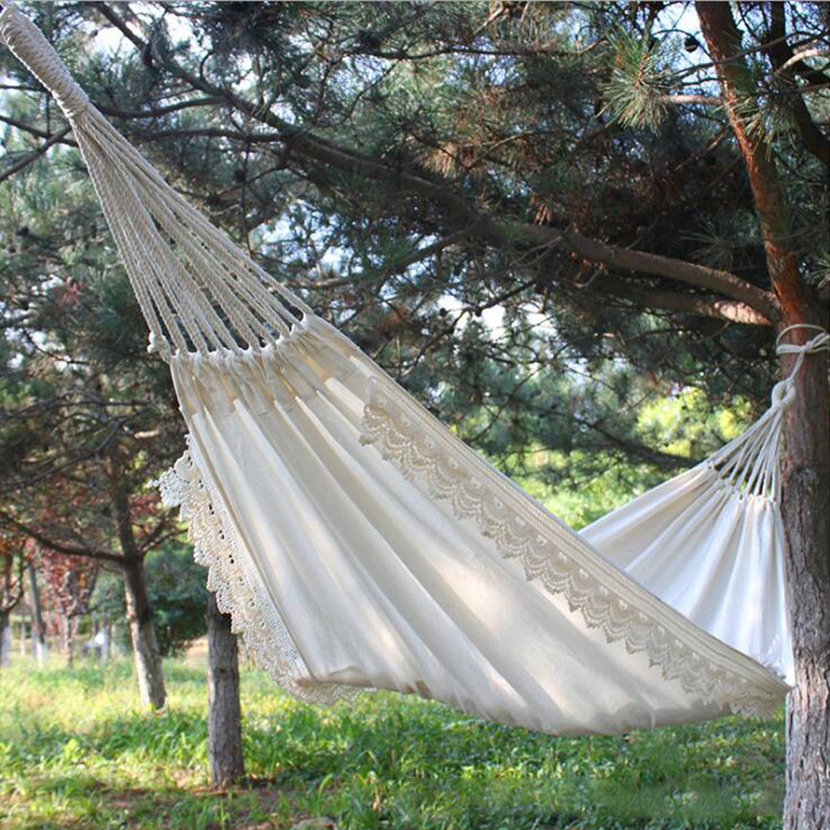 Image 3 - Outdoor Camping Hammock Swing Portable Hanging Chair Pure White Romantic Lace For Travel Hiking Garden Sleeping Swing Portable-in Hammocks from Furniture