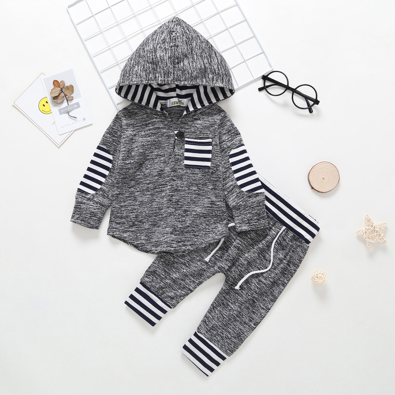 Child Boy Garments Set Autumn Winter Lengthy Sleeve Hooded Garments Woman Striped Hoodies Harem Pants 2PCS Toddler Boys Clothes Set Clothes Units, Low cost Clothes Units, Child Boy Garments...