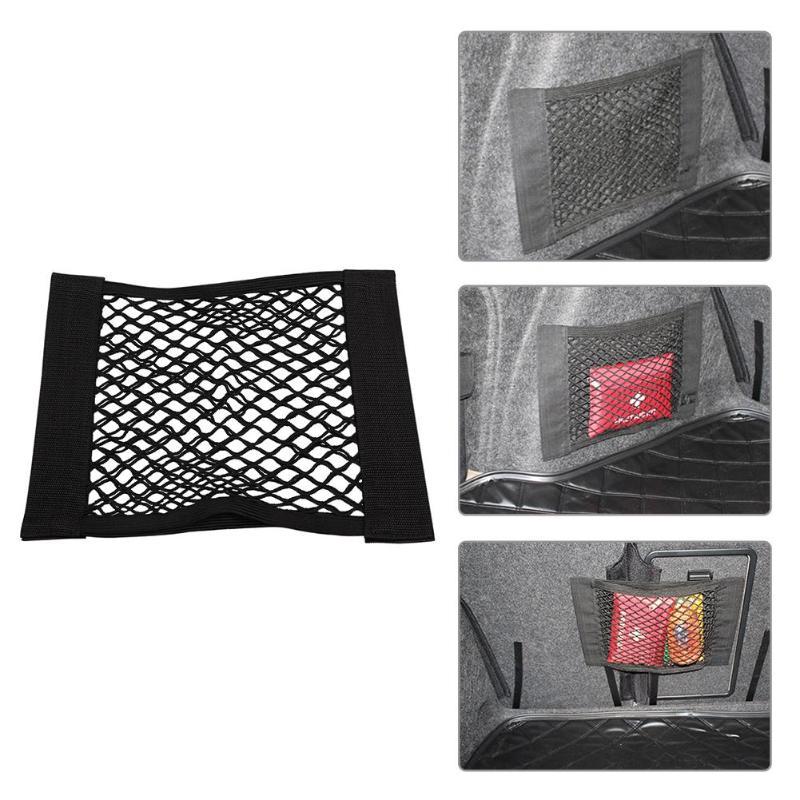 Car Trunk Back Storage Bag Mesh Net Elastic String Dual Layer Net Mesh Car Styling Luggage Holder Pocket Sticker Trunk Organizer