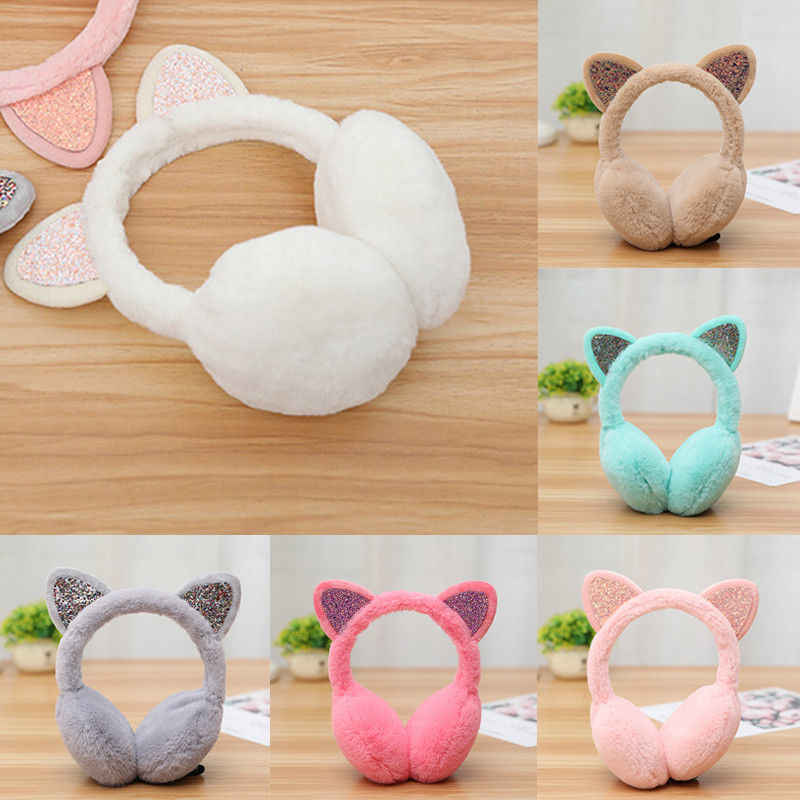 Winter Autumn Warm Faux Fur Earmuffs Cute Cat Ear Earflap Plush Earmuff for  Girls Ladies Women
