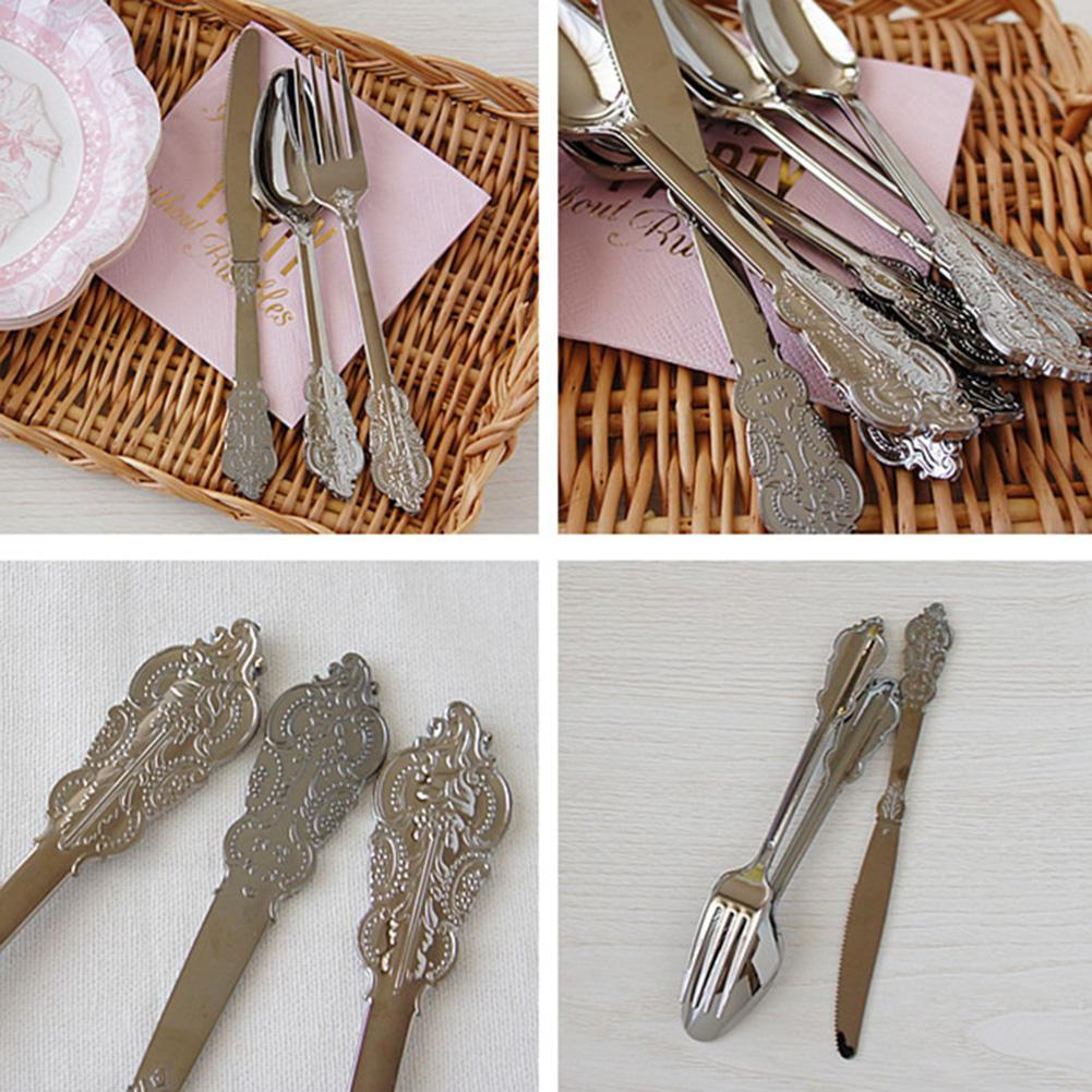 18PCS Disposable Fork Spoon Set Imitation Metal Plastic Gold And Silver Carved Western Tableware Wedding Party in Dinnerware Sets from Home Garden