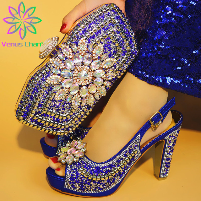 Royal Blue Color Shoe and Matching Bag for Nigeria Party African Wedding Shoes and Bag Set Italian Women Wedding Shoes and Bag