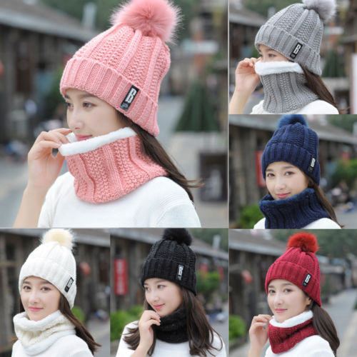 HIRIGIN 2Pcs Women Scarf And Hat Sets Winter Warm Knitted Beanie Scarves Ladies Skull Caps