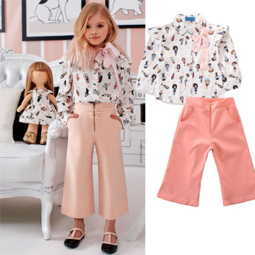 Pudcoco Clothes Toddler Kid Baby Girl Clothes Sets Formal Cotton Floral Long Sleeve Print Suit Shirt+Pants Party Outfits Set Hot girl