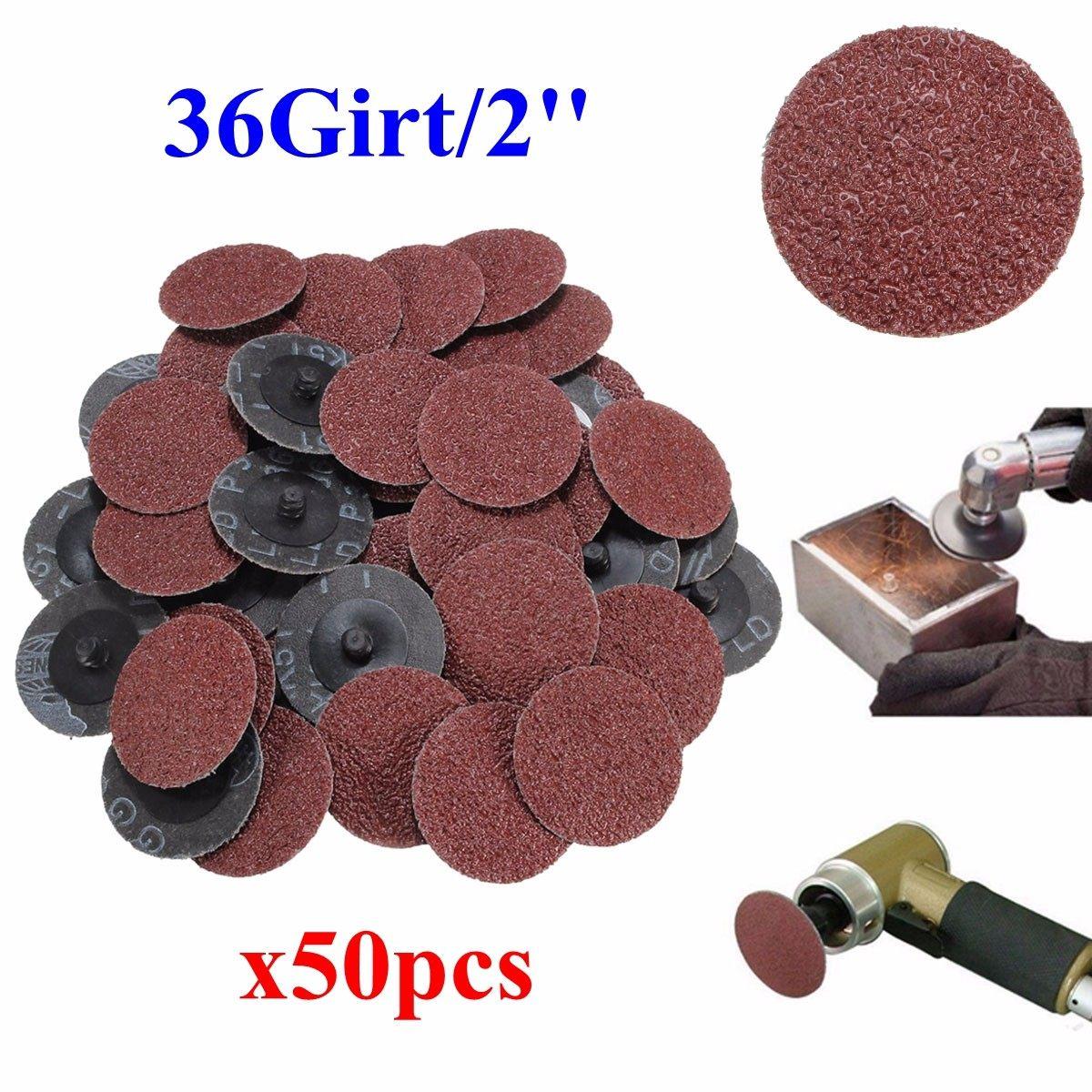 50Pcs 36 Grit Sandpaper Sanding Discs 2'' Roll Lock Type R Roloc For Dremel Abrasive Tool Sanding Discs Kit