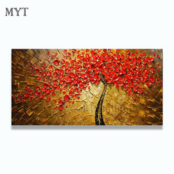 Hand-painted Oil Painting Canvas  Knife Abstract Flower Painting Pictures Of The Sitting Room Dining-room Wall  No Frame