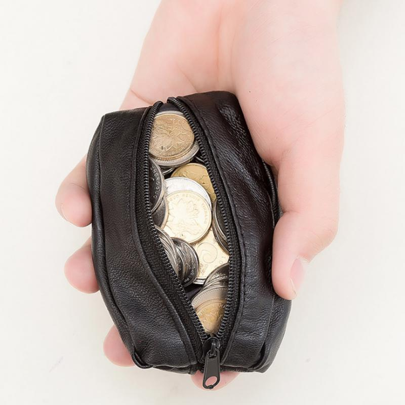 Coin Purse Mini Wallet Hanging Multi-Purpose Artificial Leather Zipper Waterproof Solid