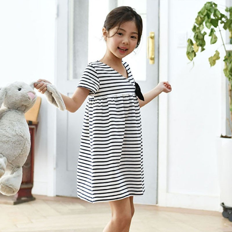 4dd61021eece Teenage Girls Striped Bow Cotton Dresses New 2019 Summer Kids Party Dress  Baby Girl Clothes Children