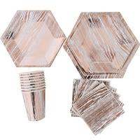 16SET Rose Gold Series Paper Cups Plates Napkins Tableware Modern Hexagon Design Cake Table Wedding Birthday Party Decor