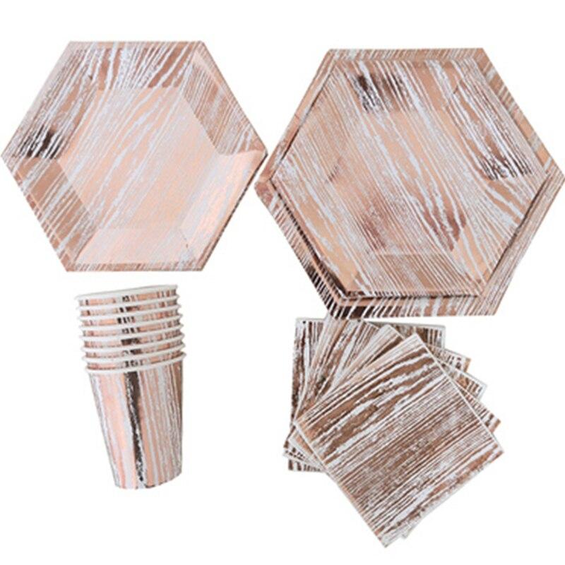 Ensemble de 16 assiettes gobelets serviettes en papier | Série or Rose, vaisselle Design moderne hexagone, Table à gâteau, décor de mariage, fête d'anniversaire