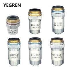 4x 10x 20x 40x 60x 100x acromática objetiva lente 195 mm conjugada distância hd din para microscópio biológico 160/0. 17