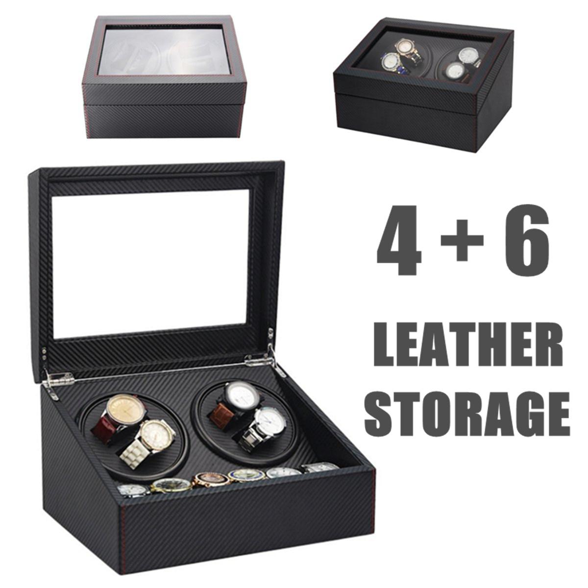 4 + 6 자동 시계 와인 더 나무 듀얼 자동 2 모터 스토리지 케이스 박스 주최자 디스플레이 랙 스탠드 시계 상자 블랙-에서시계 박스부터 시계 의  그룹 1