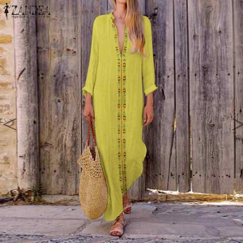 ZANZEA для женщин одноцветное пляжное праздничное платье Лето 2019 г. с длинным рукавом длиной Макси Сарафан Дамы повседневное V образным вырезом сво
