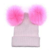 Women Hats Winter Warm Crochet Knitted Beanies Novelty Double Ball Six Colors