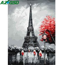 AZQSD Oil Painting Eiffel Tower Painting By Numbers City Corner Paint Canvas Picture DIY Scenery Hand Painted Modern(China)