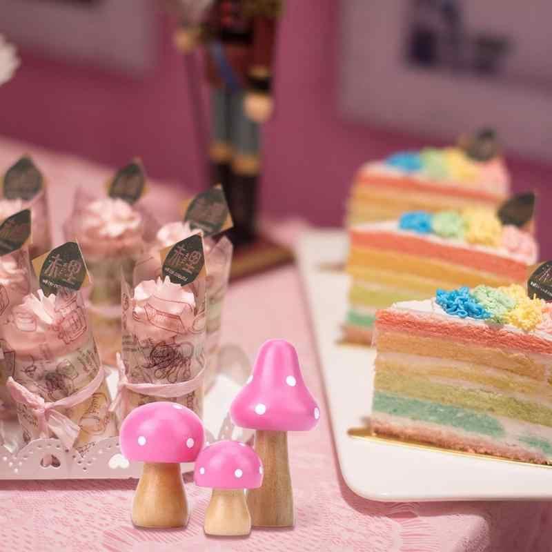 3 pièces/ensemble bois champignon mignon ornements bricolage artisanat bureau décoration Mini Miniatures décor à la maison ornement pour enfants chambre d'enfants