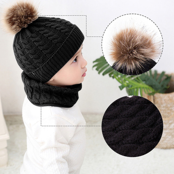 2pcs Toddler Kids Hats Baby Girl Circle Loop Scarf Neckwarmer Boy Infant Winter Crochet Knit Hat Beanie Cap Scarf Set (Black)
