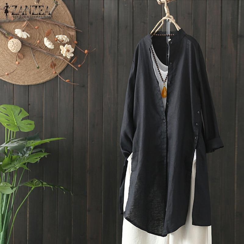 ZANZEA Plus Size Women Stand Collar Cardigan Autumn Long Sleeve Shirt Buttons Down Cotton Linen Blouse Baggy Split Blusas Femme