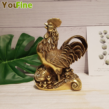 Pure copper cock money chicken size foot step on the yuan treasure zodiac lucky Wang career craft gift