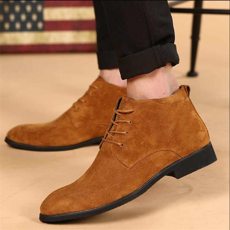 e04cd07b7 ... Весна-осень мужские туфли модные Мода повседневная обувь с острым носком  Мужская обувь Chukka мужские ...