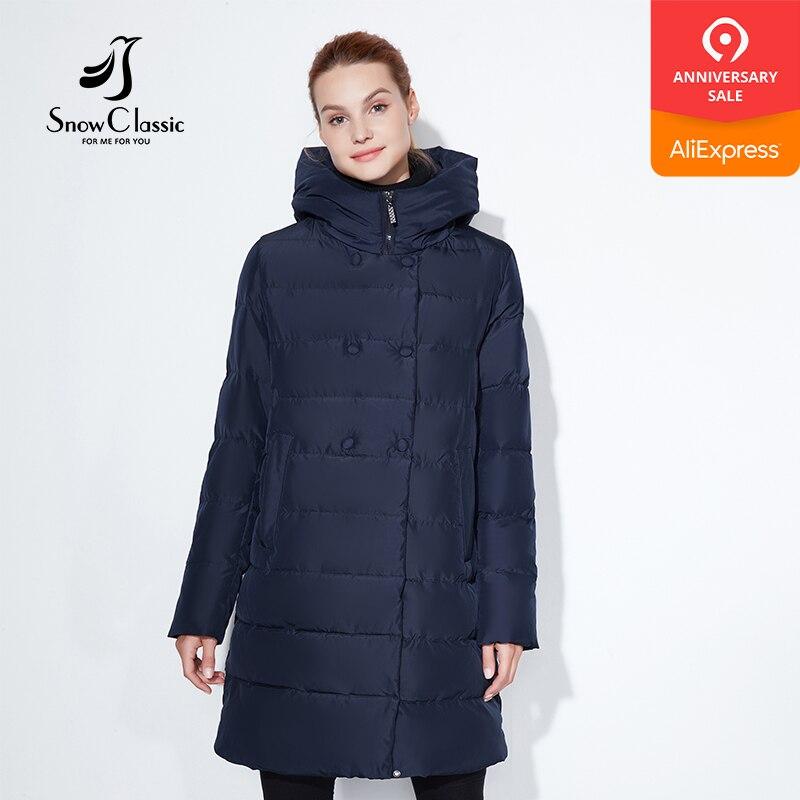 Snowclassic Fashionable winter jacket lady thick long coat button decoration hat DuPont biological cashmere warm wind