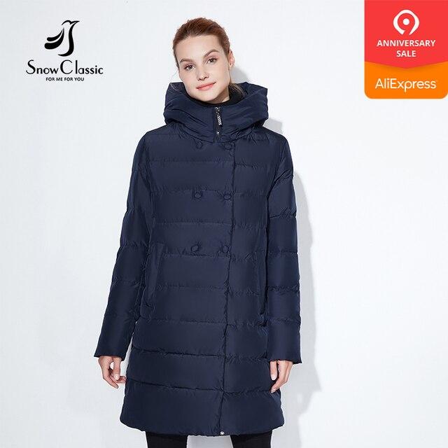 Snowclassic модная зимняя куртка Леди толстое шерстяное пальто Кнопка украшения шляпа Dupont биологического кашемир теплый ветер большой размер