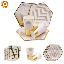 1Set White Gold Marble Paper Cup/Plates/Napkin Stripe Disposable Tableware Set Table Decoration For Wedding Party Supplies