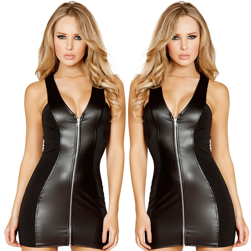Summer fashion sexy women 39 s slim black V neck leather hips one piece suit in Teddies amp Bodysuits from Novelty amp Special Use