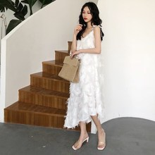 Women Summer White Feather Long Dress Loose Spaghetti Strap Chiffon Vestidos Irregular Vintage Dresses