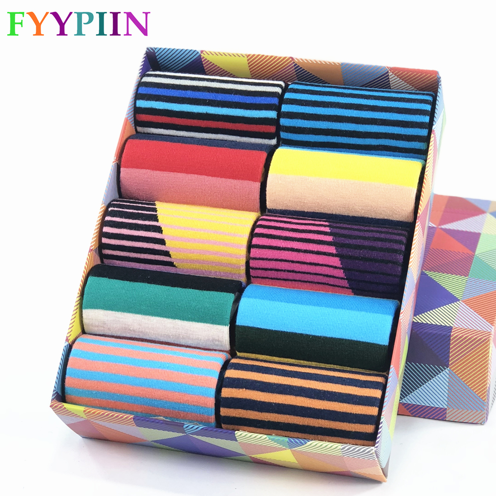 Men Socks Hot Sale Standard Casual Sokken 2019 New Socks Striped Business Happy Cotton Sokcs Colorful Men