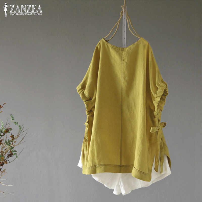 2019 de talla grande ZANZEA verano mujeres blusas Casual de manga corta de corbata de lazo de lino de algodón Tops blusa blusas Tops mujer Camisas