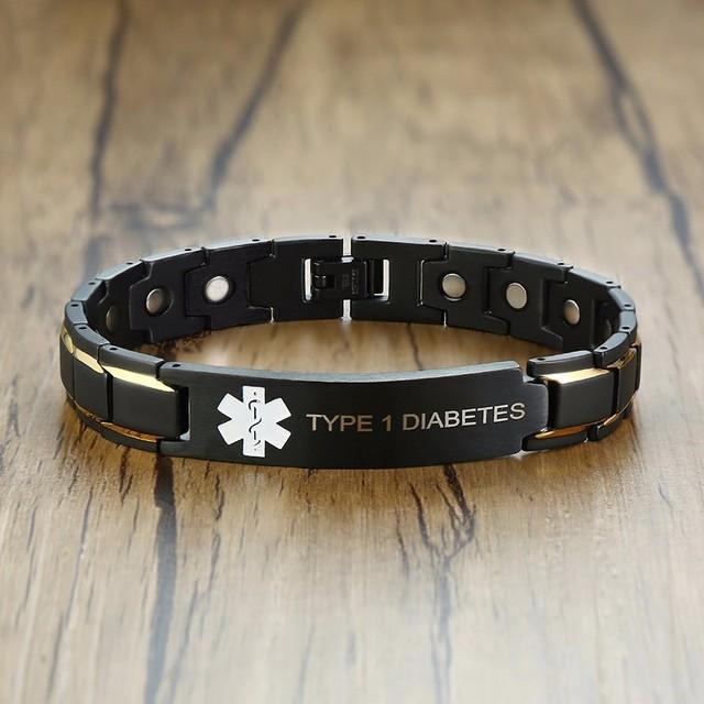 Vnox 12mm Mens Medical Alert Id Bracelets Type 1 Diabetes Stainless Steel Magnet Link Chain Free Engraving Jewelry