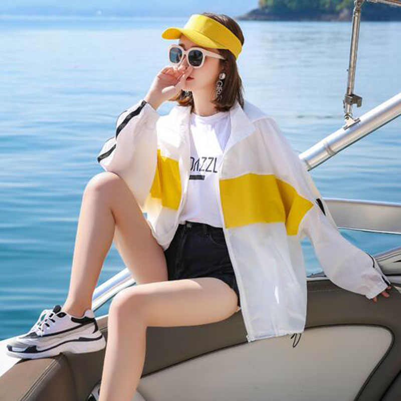 Для женщин тонкая куртка с капюшоном мода лето, защита от солнца Костюмы 2019 корейский стиль женский свободный пуловер с капюшоном на молнии, куртка-бомбер Famale