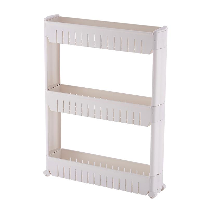 online store c45b7 c7a70 US $23.11 12% OFF|3 Tier Gap Storage Slim Slide Out Storage Tower Rack  Shelf with Wheels for Home Kitchen(Grey)-in Storage Holders & Racks from  Home & ...