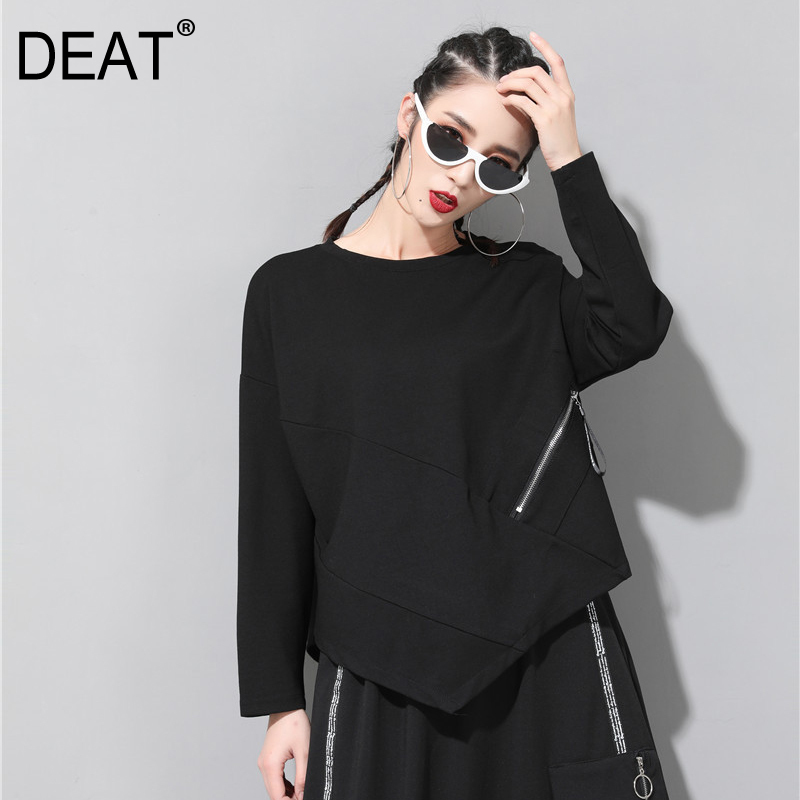 Women's Clothing deat 2019 New Spring Summer Lapel Long Sleeve Black Zipper Irregular Loose Big Size Shirt Women Blouse Fashion Tide Jq85 Elegant In Style