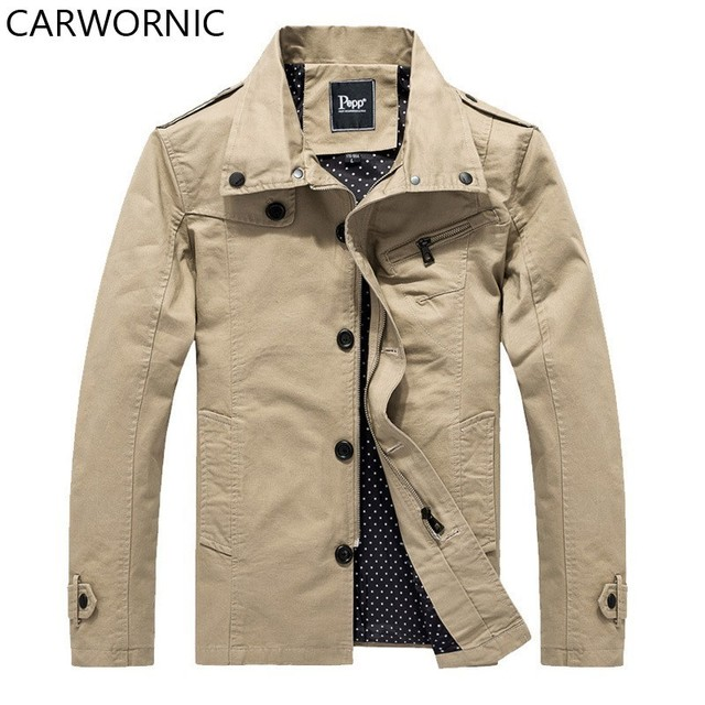 CARWORNIC Spring Jackets Male Autumn Cotton Thin Jacket Turn Down Collar Washed Standard Clothes Warm Casual Fashion Men Coat