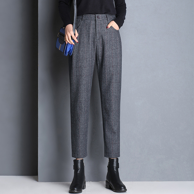 Shuchan Thick 60% Woolen Pants For Women Ankle-length Pants Casual Plaid High Waist Harem Pants Trousers For Women Winter 2018