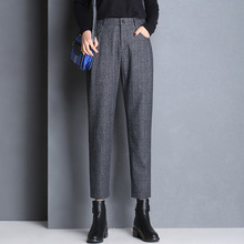 Shuchan Thick 60% Woolen Pants For Women Ankle-length Casual Plaid High Waist Harem Trousers Winter 2018