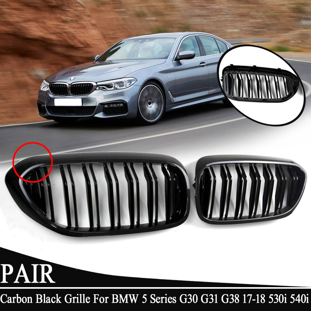 Front Bumper Grill For <font><b>BMW</b></font> 5Series <font><b>G30</b></font> G31 G38 530i <font><b>540i</b></font> 2017-2018 ABS Dual Line Carbon Black Replacement Front Kidney Grille image