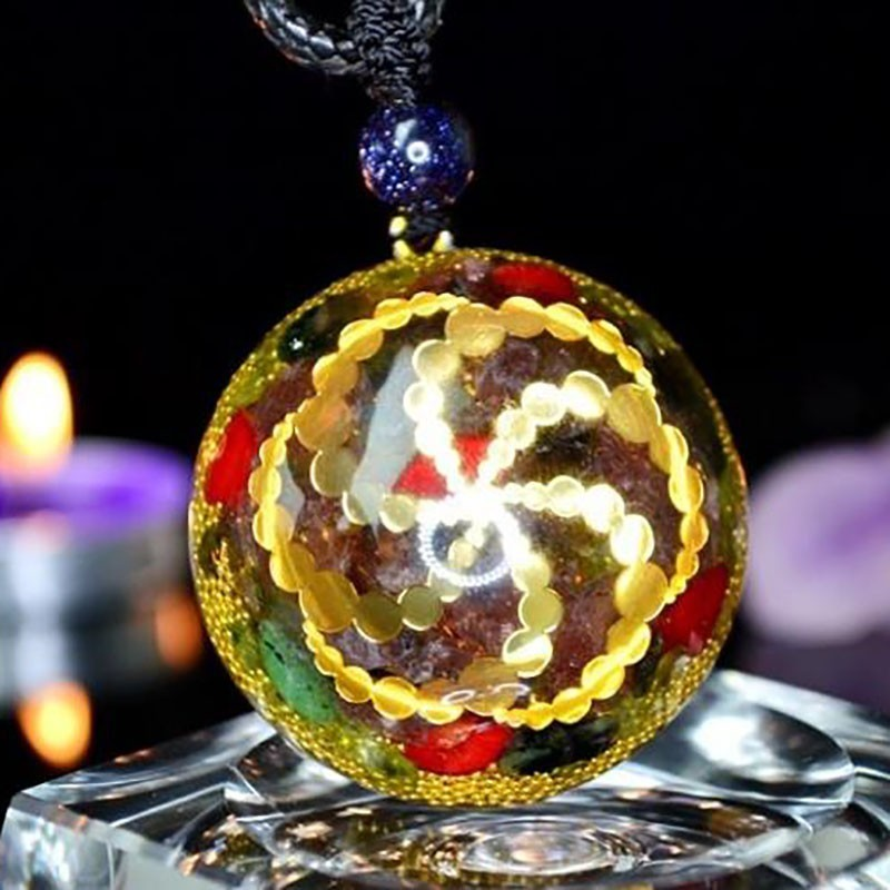 AURA REIKI Orgonite Energy Pendant Accumulate Wealth Field Natural Crystal Pendant Necklace Charm Lucky Jewelry Chakra Stone