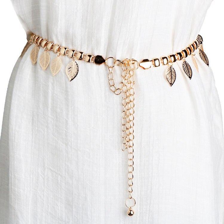 Decoration Leaf Gold Dress Thin Gold Waist Chain   Belts   Ladies 2018 Luxury Leaves Metal Fine Female   Belt   For Women Strap